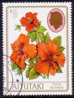 AITUTAKI Cook Islands 1997 SG #675 $8 VF Used Hibiscus Rosa-sinensis - Aitutaki