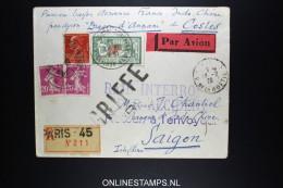 France: R-lettre 1929 Premier Liaison A SAIGON RAID INTERROMPU PAR ACCIDENT Costes  Dragon D' Annam - 1927-1959 Brieven & Documenten