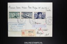 AOF  Premier Liaison Aerienne Paris Abidjan Cote D'Ivoire 14-4-1953 R-lettre