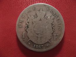 1 Franc 1867 BB Strasbourg Napoléon III 1568 - Francia
