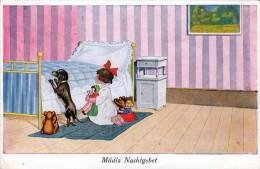 MÄDIS NACHTGEBET Mit Puppe Und Dackel - Künstlerkarte 1927 - Humorvolle Karten