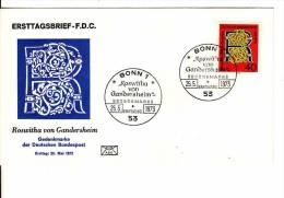 Deutschland-Ersttagbrief, FDC 25.5.1973, Mi 770, Roswitha Von Gandersheim - Dichterin - BRD