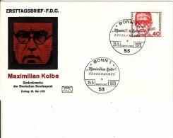 Deutschland-Ersttagbrief, FDC 25.5.1973, Mi 771, Maximilian Kolbe - Franziskaner Pater - BRD
