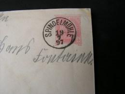 == CSR Spindlermühle  Spindleruv Mlyn .. Cv. 1897 - Enteros Postales