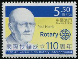MACAU 2015 - 110e Ann De Rotary International, Paul Harris - 1 Val Neufs // Mnh - 1999-... Sonderverwaltungszone Der China