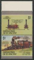 """Grenadines Of St. Vincent 1987 Mi 553 /4 YT 517 /8 ** Locomotive Camden & Amboy Railroad """"Stevens"""" (1831) - Treinen"""