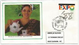 WORLD EXPO 88. BRISBANE. AUSTRALIA,Thé De Ceylan, Lettre Du Pavillon Du SRI LANKA (National Day), Adressée à DARWIN - Unclassified