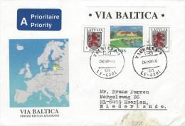 Latvia 1995 Valmiera Via Baltica Heraldy Lion Cover - Letland
