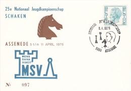 SCHACH-CHESS-ECHECS-SCACC HI, BELGIUM, 1976, Special Postmark !! - Scacchi