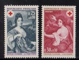 FRANCE 1968 Paire (2) YT N° 1580/1581** Au Profit De La Croix-Rouge Tableaux De Nicolas Mignard Le Printemps L'Automne - France