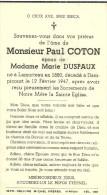 Paul Coton époux De Marie Duspaux Lamorteau Dampicourt 1880 1947 - Rouvroy