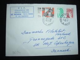 LETTRE POUR LE DANEMARK TP CONTRE LE RACISME 2,30 + TP SABINE 0,10 + TP LIBERTE 0,20 OBL.28-9-1982 PARIS 09 (75) - Postmark Collection (Covers)