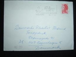 LETTRE POUR LE DANEMARK TP LIBERTE DE GANDON 2,10  OBL.MEC.24-6-1985 VALLAURIS (06) - 1982-90 Liberty Of Gandon
