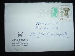 LETTRE PAR AVION POUR LE DANEMARK TP INDIGOTIER 2,00 + TP LIBERTE DE GANDON 0,20 OBL.MEC.8-9-1987 LA BAULE (44) - Postmark Collection (Covers)