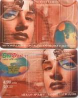 Telefonkarte Bulgarien - BulFon - Werbung - Erdkugel,Globus - Vorwahlen  - Frau,woman - Bulgarien