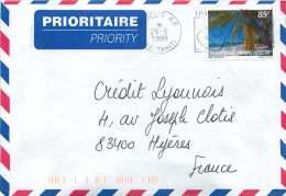 1998  Lettre Avion Pour La France Yv  548 (Palmiers, Du Carnet «Tourisme») - Polynésie Française
