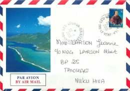 2001  Lettre Avion Intérieure De Uturoa Pour Taiohae  Yv 508 (Reine Pomaré, De Carnet) - Polynésie Française