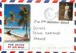 20001 Lettre Avion Pour Les USA  Yv625 (Robes Traditionnelles) - Polynésie Française