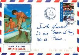 2002   Lettre Avion Pour La France  Yv 651 (Course De Pirogues) - Polynésie Française