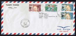 1965  Lettre Avion Pour L'Italie  Yv 10, 27 X2, 28 - Polynésie Française