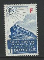 """FR Colis Postaux YT 201 """" Livraison à Domicile  F Rouge  Timbre Bleu """" 1943 Neuf* - Paketmarken"""