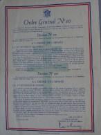 EXCEPTIONNEL ORDRE GENERAL N° 10 CITATION DEUXIEME DIVISON BLINDEE GENERALE DE GAULLE DOCUMENT ORIGINAL - Documenten