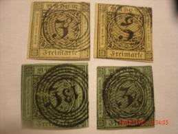 BADEN, SCOTT#2, 3KR BLACK ON YELLOW(2 EACH) & SCOTT#7, 3 KR BLACK ON GREEN(2 EACH), USED - Bade