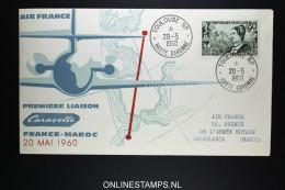Maroc 1er Voyage Caravelle  Air-France Toulouse Casablanca  20-5-1960 - Morocco (1956-...)