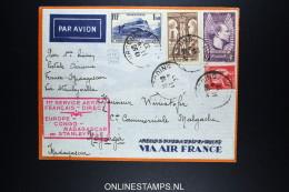France Premier Liaison Postale Aerienne France Madagascar Via Stanleyville 1937 - Poste Aérienne