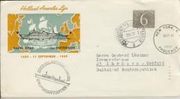 DV2-95b NETHERLANDS 1959 COVER HAL MAIDEN VOYAGE SS ROTTERDAM. CANCELLATION POSTAGENT Ab SS ROTTERDAM. - FDC