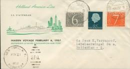 DV2-97b NETHERLANDS 1958 COVER HAL MAIDEN VOYAGE SS STATENDAM. CANCELLATION POSTAGENT Ab SS STATENDAM. - FDC