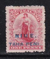 Niue MH Scott #7 SG #9b NIUE Overprint On NZ 1p 'Commerce' - Spaced 'UE' - Niue