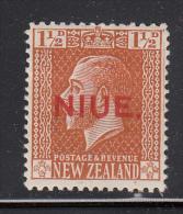 Niue MH Scott #24 SG #26 NIUE Overprint On NZ 1 1/2p George V, Brown Orange - Niue