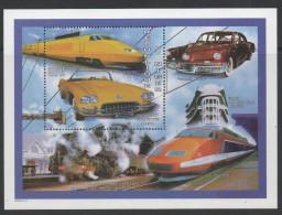 NIGER, 1997, MNH, TRAINS, TGV, CARS, CORVETTE, S/SHEET - Trains