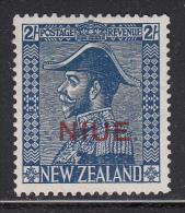 Niue MH Scott #47a SG #48 Niue Overprint On NZ 2sh George V, Dark Blue - Niue