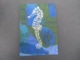 New Art (santorini ) Handpainted Card (hipocamp Sur Fond Vert Et Bleu ) - Paintings