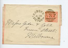 Australia Victoria 1893 Newspaper Wrapper Cobden 587 Duplex Cancel (E511) - 1850-1912 Victoria