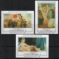 St. Vincent  1993 SC 1782-1784 MNH Louvre Museum Art - St.Vincent & Grenadines