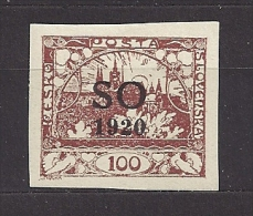 Czechoslovakia Tschechoslowakei SO 1920 MH * Mi 19 Hradcany At Prague. Stamps For Plebiscite Lands Eastern Silesila - Cecoslovacchia