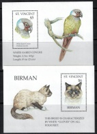 St. Vincent  1995 SC 2152-2155 MNH Cats Of The World And Parrots Of The World Birds Animals - St.Vincent & Grenadines