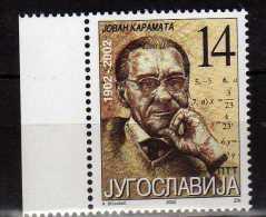 Yugoslavia 2002 The 100th Anniversary Of The Birth Of Jovan Karamata(1902-1967).MNH - 1992-2003 Federal Republic Of Yugoslavia