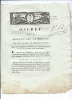 1793-AN II-Decret De La Convention Abolissant Les Droits Féodaux De Pêche Et De Chasse - Décrets & Lois