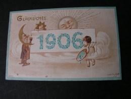 ==  Neujahr 1906  Engel, Sonne , Mond ...Erfurth 1905 - Nouvel An
