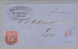 Heimat DE BA Mannheim 1862-08-23 Brief N.Lyon M.Mi#12 EF ! - Bade