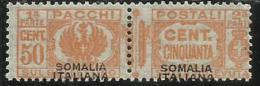 SOMALIA 1928 - 1941 PACCHI POSTALI FASCIO PARCEL POST SOPRASTAMPA NERA BLACK OVERPRINTED I TIPO CENT. 50 C MNH - Somalia