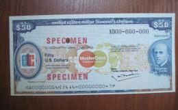 MasterCard Travellers Cheques Specimen 50 US Dollars - Specimen
