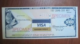 Visa Travellers Cheque Specimen $100 US Dollars - Specimen