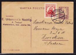 Pologne - Carte Postale De 1927 - Entier Postal - Oblitération Katowice - Expédié Vers Le L' Allemagne - 1919-1939 Republik
