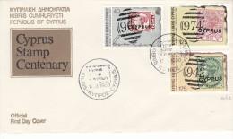 Timbres Sur Timbres - Chypre - Document De 1980 - Oblitération Spéciale Stamp Centenary - Cyprus (Republic)