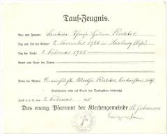 Taufzeugnis 8. Februar 1925, Evangelische Johanneskirche Halle A. S. - Historische Dokumente